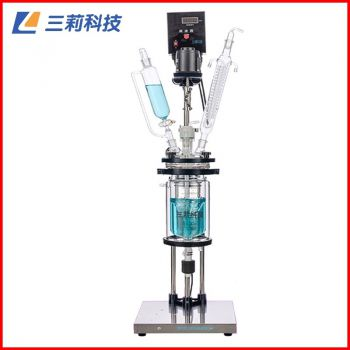 S212-2L双层玻璃反应釜 底板式防爆电机2升双层玻璃反应器