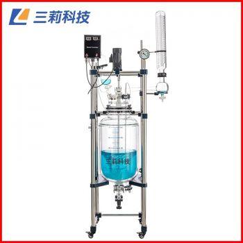 S212-20L双层玻璃反应釜喷四氟防腐20升玻璃反应器